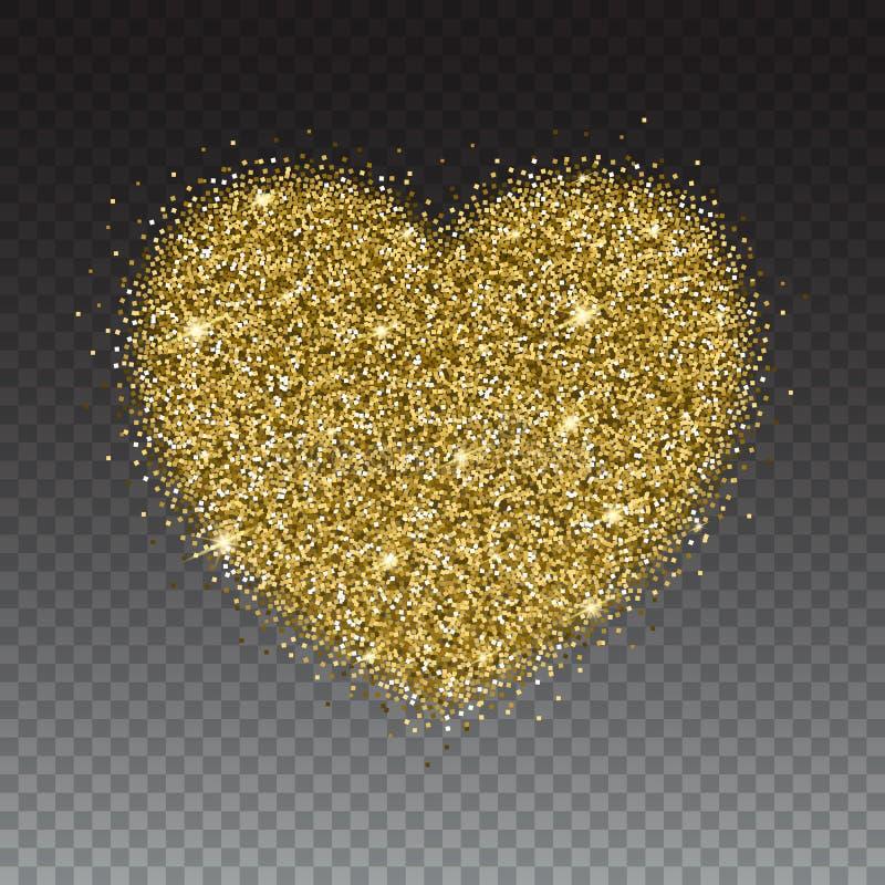 Ikona serce z złotem błyska i błyskotliwość royalty ilustracja