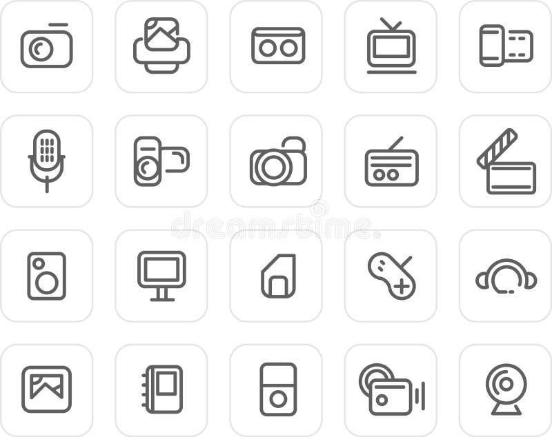 ikona set medialny prosty ilustracja wektor