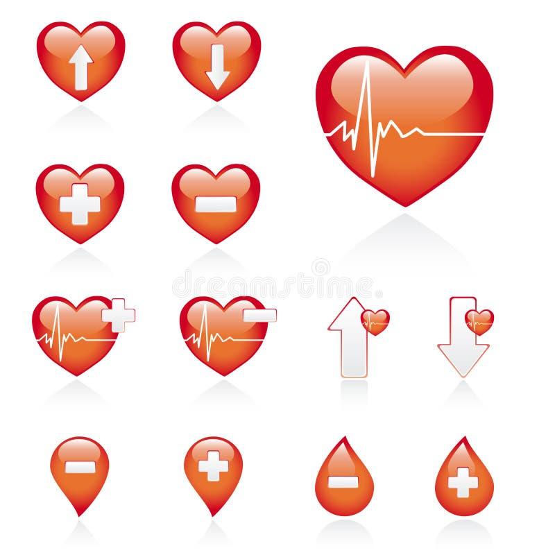 ikona set medyczny czerwony ilustracji