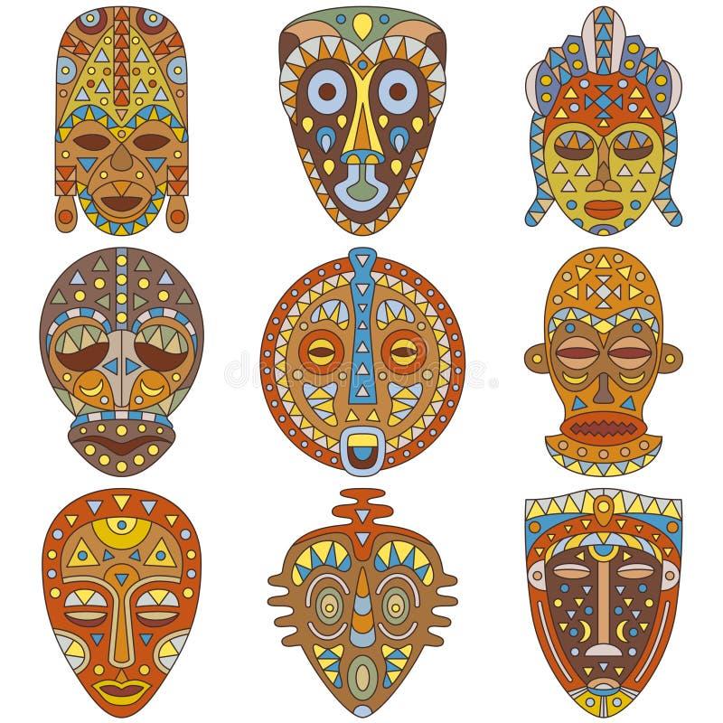 Ikona set Różne etniczne maski royalty ilustracja