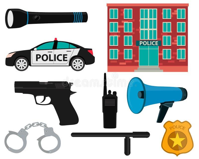 Ikona setu policja ilustracji