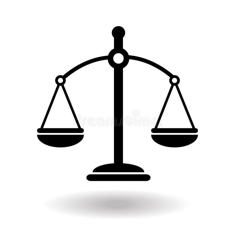 Ikona skalowania wymiaru sprawiedliwości w czerni Symbol równowagi prawa Waga w prostej płaskiej konstrukcji Ilustracja wektorowa ilustracja wektor