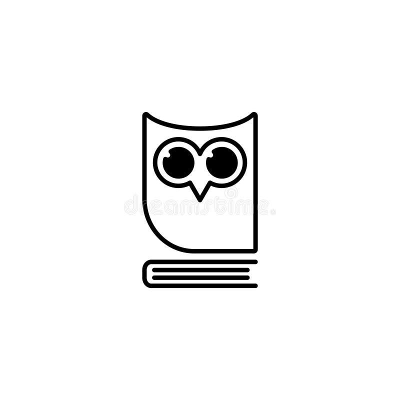 ikona Sowa na książce, logo, edukacja emblemat royalty ilustracja