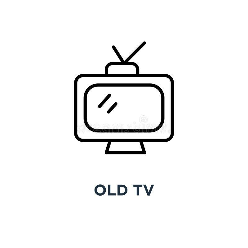 ikona stary tv Liniowa prosta element ilustracja Retro televisio ilustracja wektor