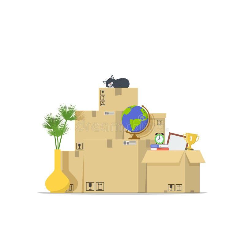 Ikona stos brogujący kartony Pojęcia chodzenia dom Przeniesienie mieszkanie tło pracownik pudełkowaty doręczeniowy przystojny odo ilustracji