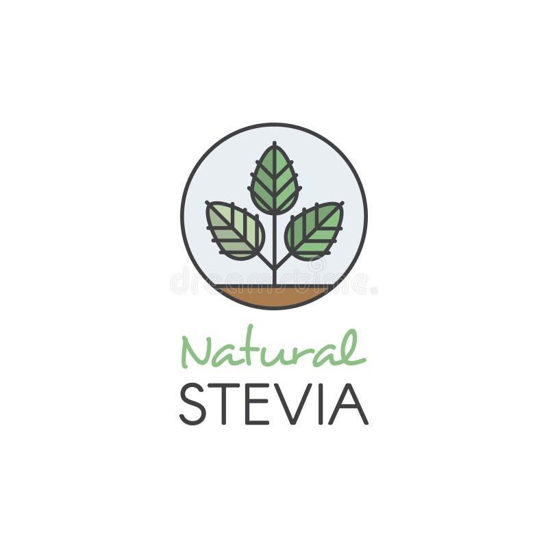 Ikona Stylowego Ilustracyjnego loga etykietki Ustalona odznaka i projekta element dla Pakować z literowanie ikoną, Organicznie Na royalty ilustracja