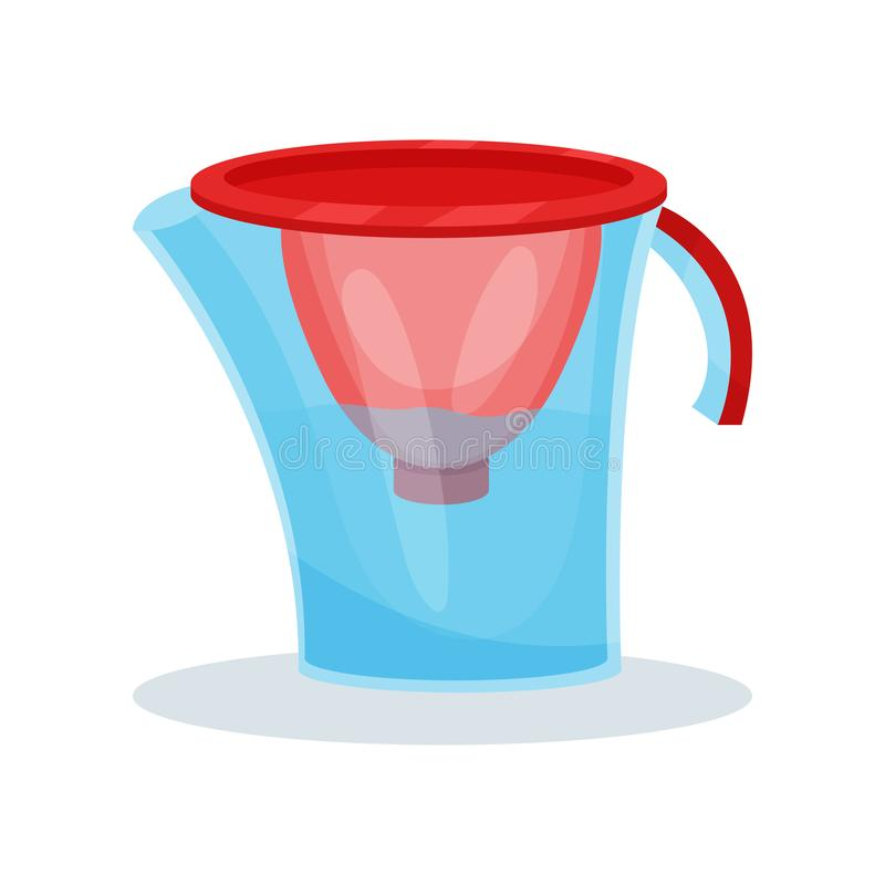 Ikona szklany wodnego filtra miotacz tło rozwidla kuchni sześć naczynia biel Płaski wektorowy element dla promo plakata lub sztan ilustracja wektor