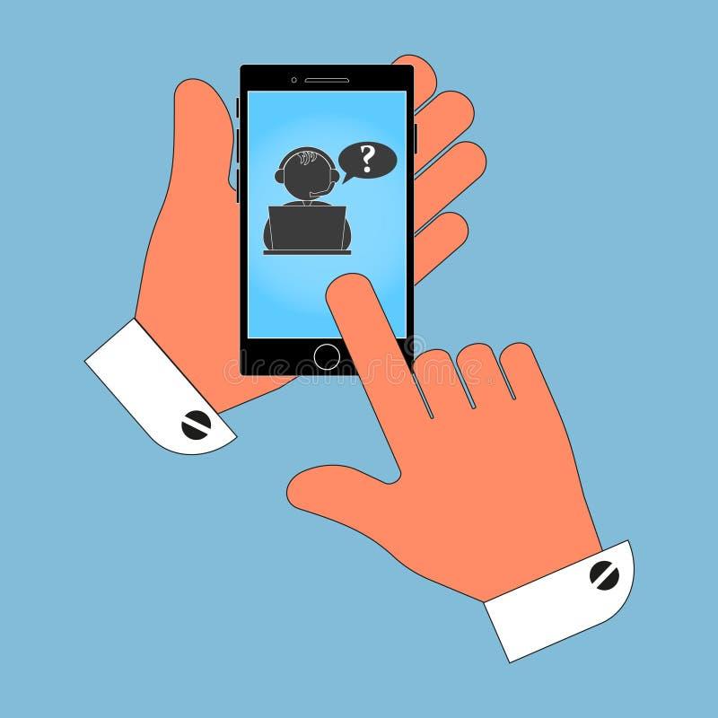 Ikona telefon w jego ręce na operatora ekranie źródło, odosobnienie na błękitnym tle ilustracji