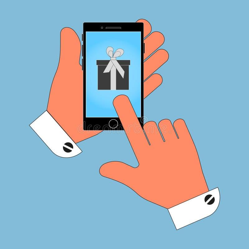 Ikona telefon w ręce, na ekranie pudełko, prezent, odizolowywa na błękitnym tle royalty ilustracja