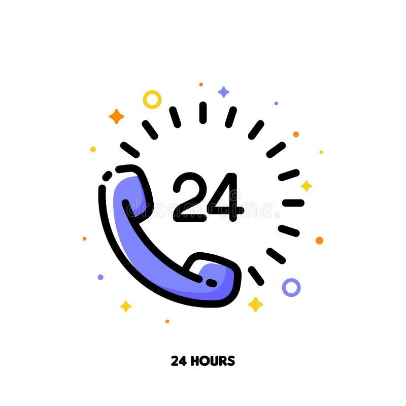Ikona telefoniczny handset z liczbą 24 gdy 24 godziny otwierają, wspierają pojęcie i obsługi klientej lub ekspresowej dostawy dla ilustracji