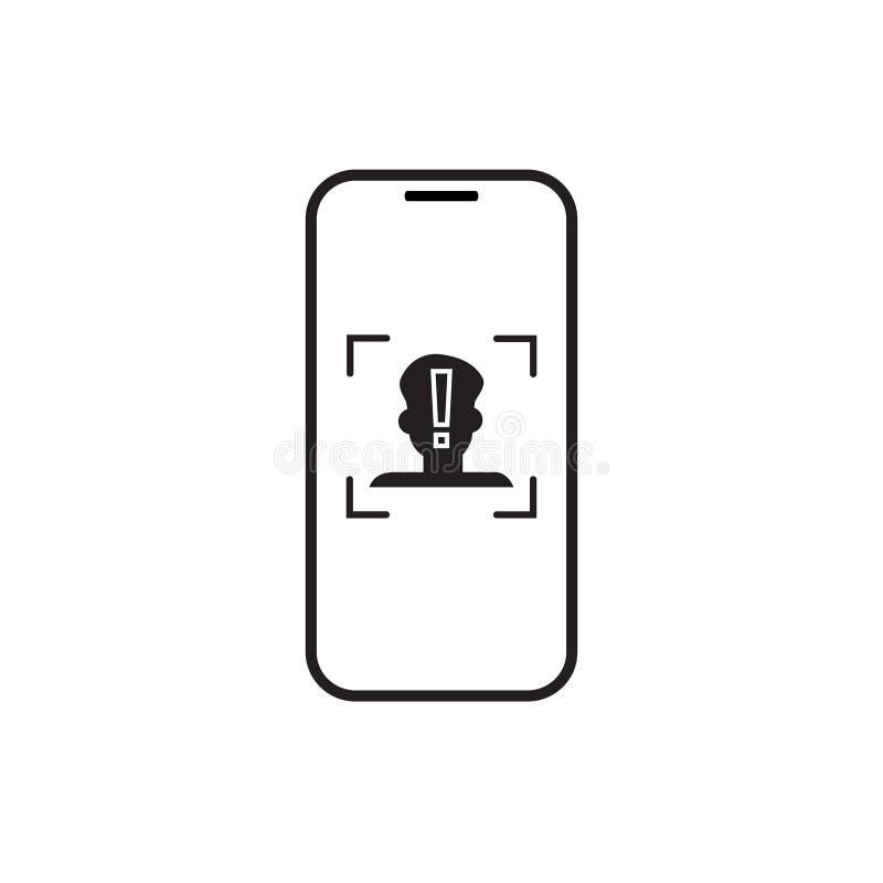 Ikona telefonu obrazu cyfrowego twarzy rozpoznania systemu Mądrze Biometryczny Tożsamościowy pojęcie ilustracja wektor