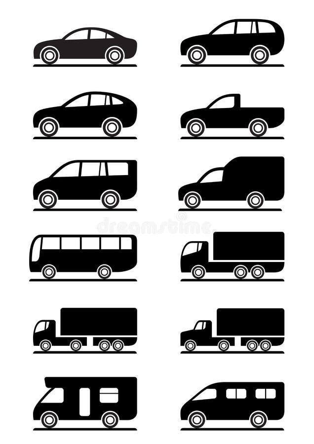ikona transport drogowy ustalony royalty ilustracja