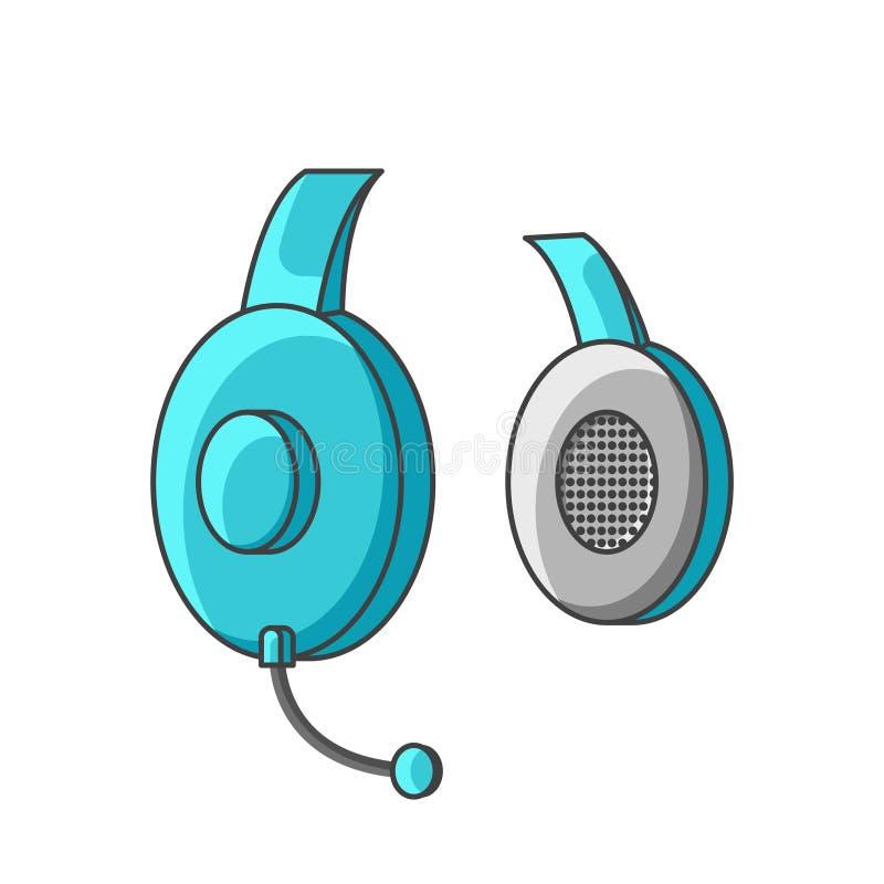 Ikona turkusowi hełmofony z mikrofonem tła ilustracyjny rekinu wektoru biel ilustracja wektor