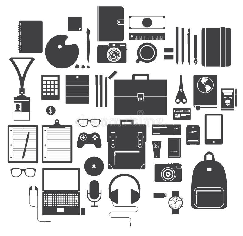 Ikona Ustawiająca Biurowy wyposażenie, podróż gadżet i hobby w Płaskim projekcie, wektor ilustracja wektor