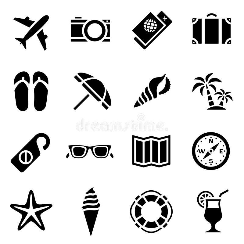 Ikona ustawiająca czarna prosta sylwetka i podróżować w płaskim projekcie na temat turystyki ilustracja wektor
