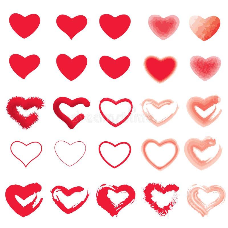 Ikona ustawiająca czerwony serce Malujący serca od Grunge muśnięcia uderzeń Kolekcja miłość symbole dla walentynki karty, sztanda ilustracji