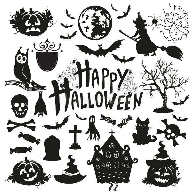 Download Ikona Ustawiająca Dla Halloween Na Białym Tle Ilustracja Wektor - Ilustracja złożonej z tło, zabytek: 57663533