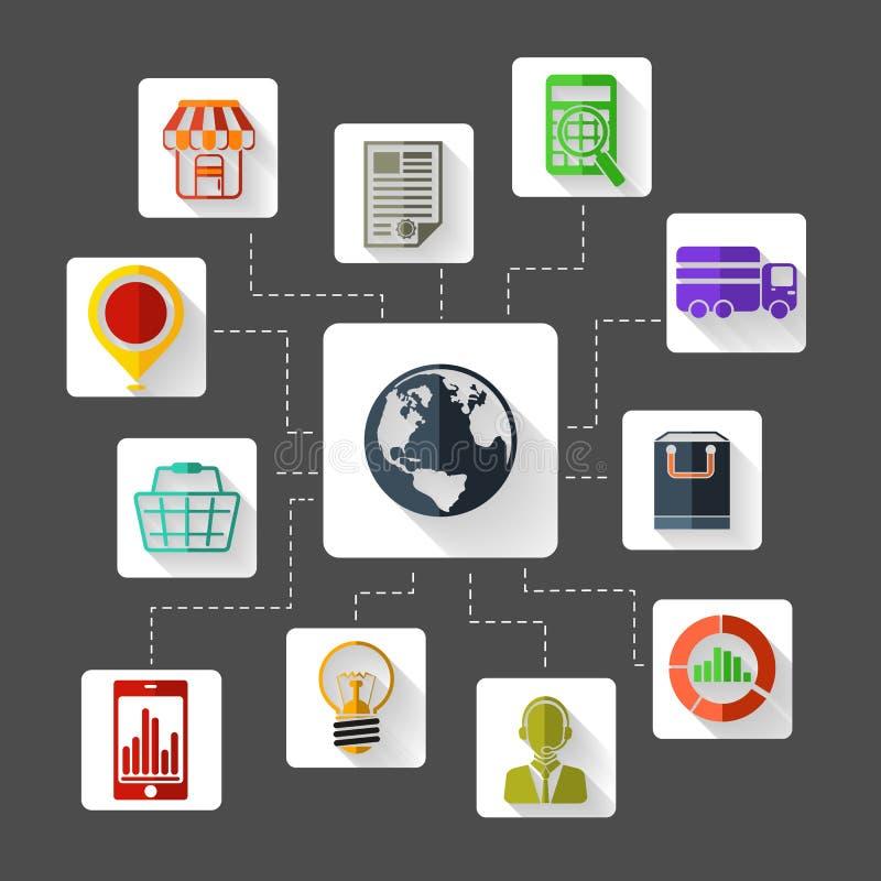 Ikona ustawiająca dla marketingowego planowania projekta płaskich ikon royalty ilustracja