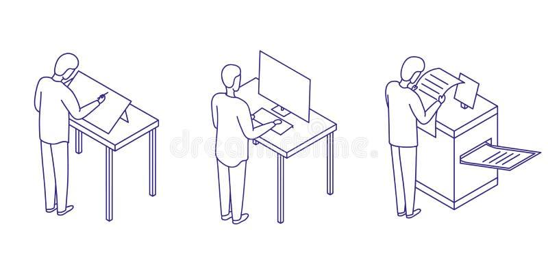 Ikona ustawiająca ludzie która pracuje w projekt typografii i studiu Malarz, projektant i poligraf, ilustracja wektor