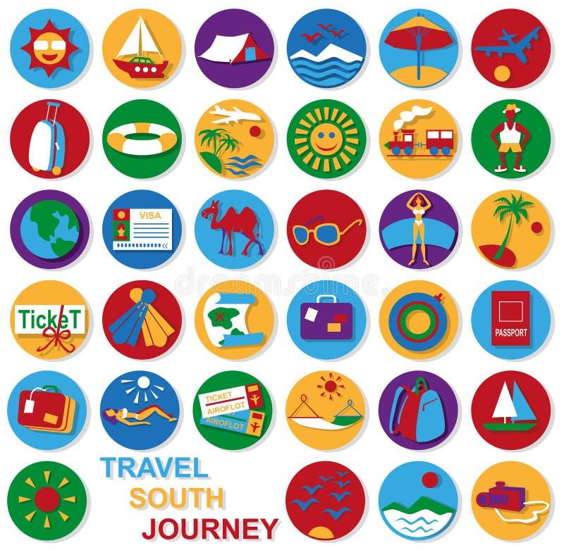 Ikona ustawiająca podróż ilustracja wektor