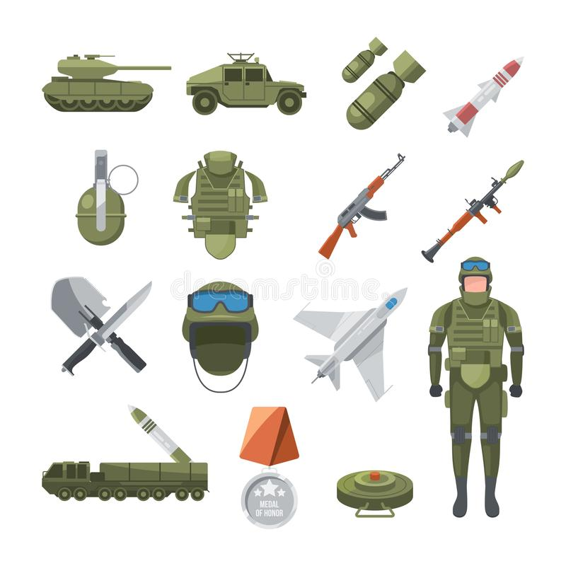 Ikona ustawiająca policja i wojsko Militarne ilustracje żołnierze i różne bronie, royalty ilustracja