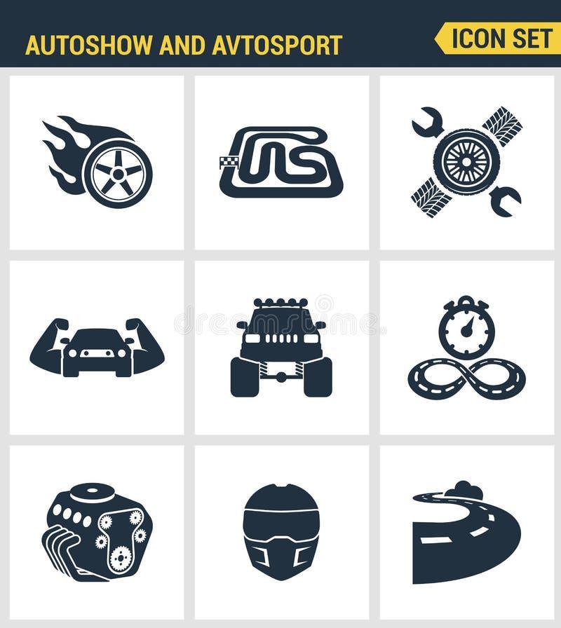 Ikona ustawiająca premii ilość autoshow i avtosport potwora ciężarówki samochodowy ścigać się mięśnia parowozowy zlotny samochód  royalty ilustracja