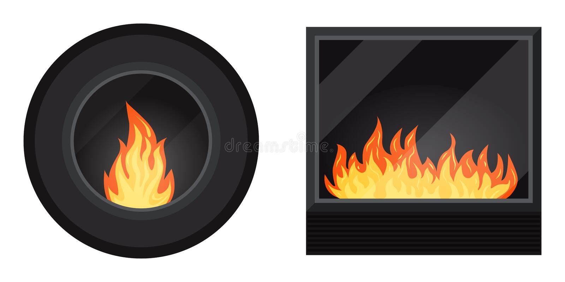 Ikona ustawiająca: wokoło i kwadratowa czarna nowożytna elektryczna lub benzynowa wygodna fireburning graba royalty ilustracja