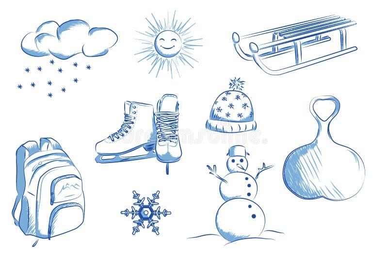 Ikona ustawiająca zima przedmioty: łyżwy, sania, bałwan, płatki śniegu royalty ilustracja