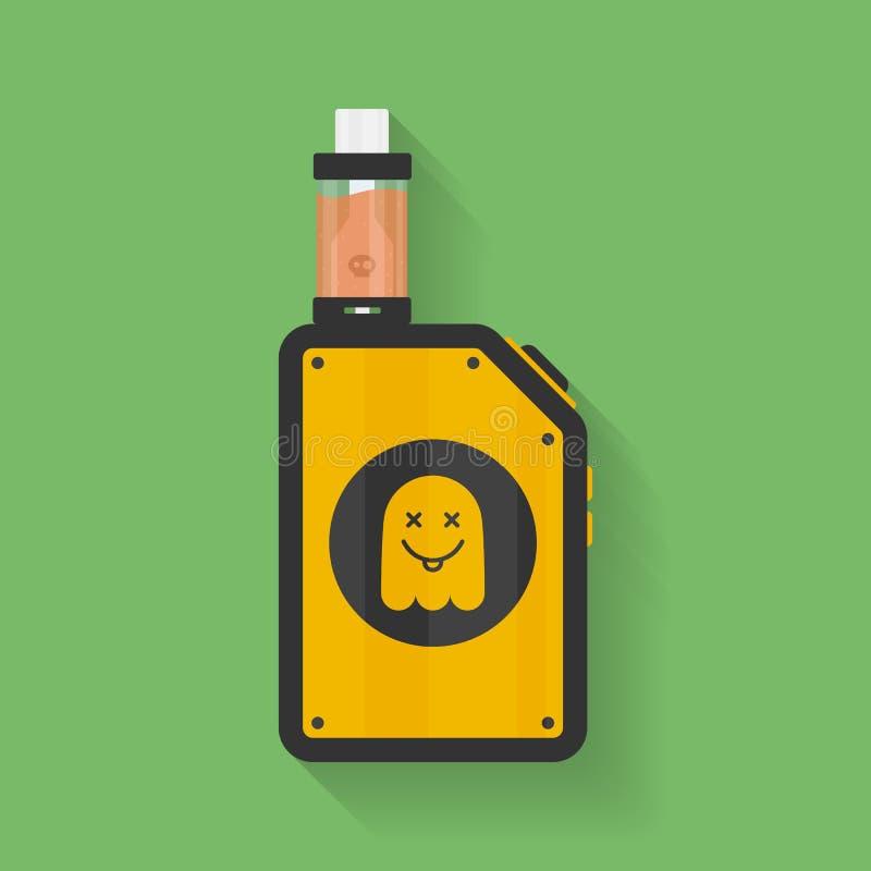 Ikona Vape przyrząd z duch sylwetką Elektroniczny papieros z cieczem Wektorowy Vaping symbol Pudełkowaty mod z Rebuildable zbiorn ilustracja wektor