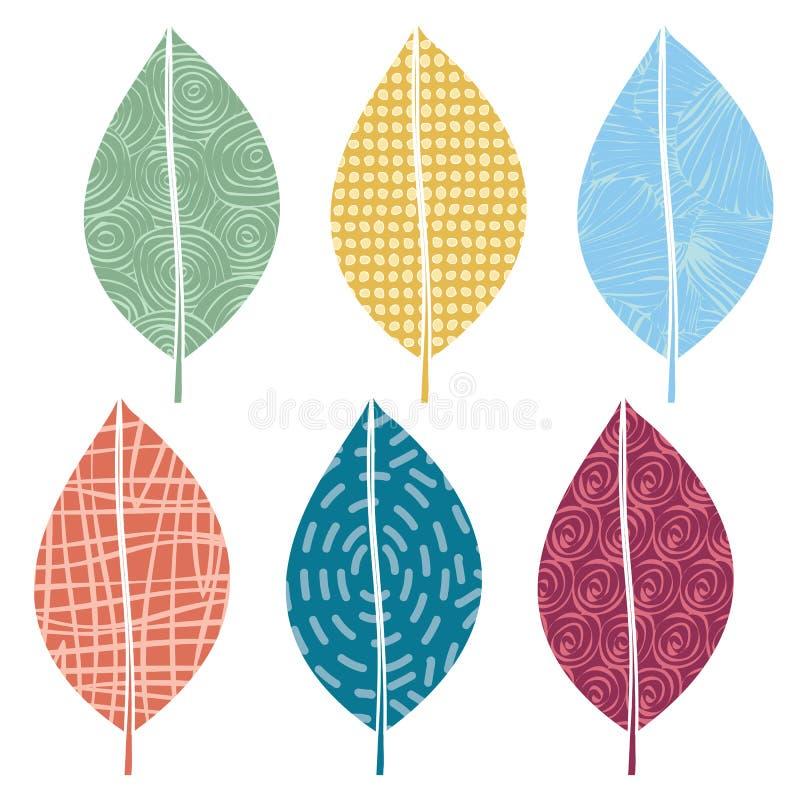 Ikona Vector Green Yellow Blue Orange Red Leaves ustawiona na białym tle Grafika clipart do ozdabiania kart, biuletynów ilustracja wektor