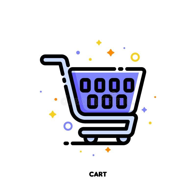 Ikona wózek na zakupy dla handlu detalicznego i konsumeryzmu pojęcia Mieszkanie wype?niaj?cy konturu styl Piksel perfect 64x64 Ed royalty ilustracja