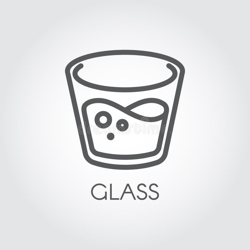 Ikona w liniowym stylu z szkłem woda lub inny abstrakcjonistyczny napój Wektorowy konturu logo ilustracja wektor