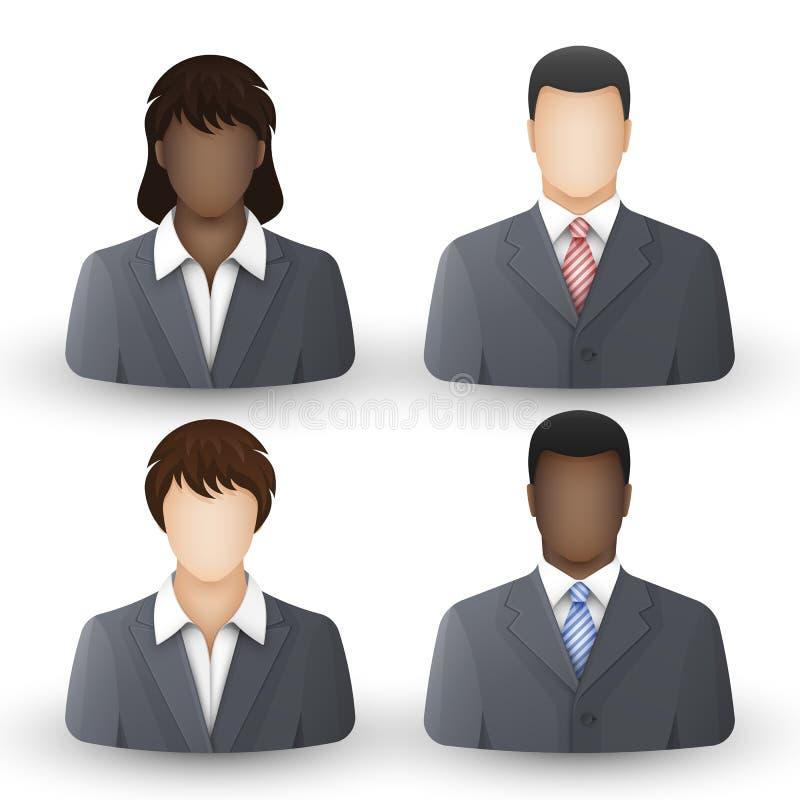 ikona wektorów biznesowi ludzie Zespala się lub grupa mężczyźni i kobiety w garniturach i białych koszula ilustracja wektor
