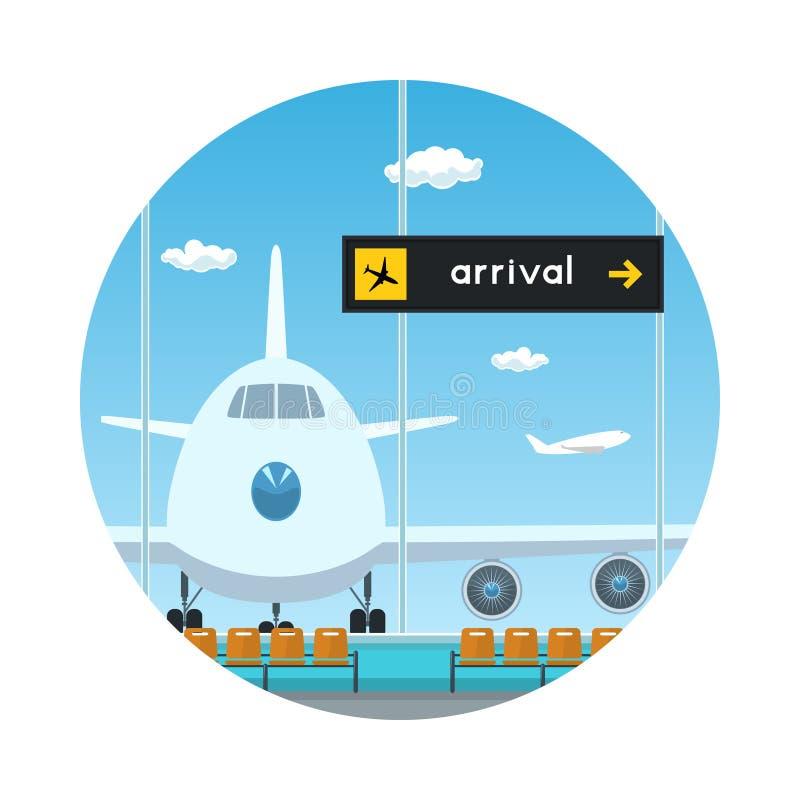 Ikona, widok na samolocie i tablica wyników przyjazdy, ilustracji