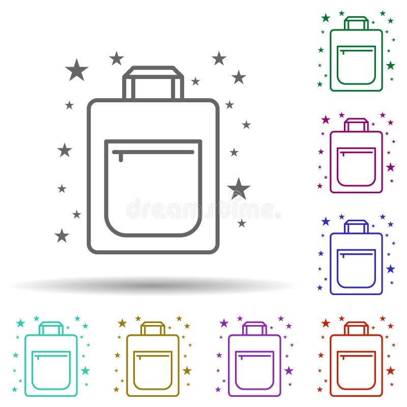 Ikona wielokolorowego worka na zakupy w torbie Proste, cienkie liniowe, konturowe ikony toreb dla aplikacji ui i ux, witryn inter zdjęcia stock