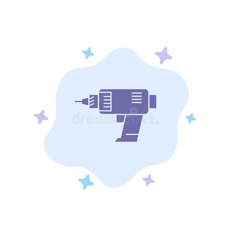 Ikona Wiercenie, Zasilanie, Komputer, Bezprzewodowy, Niebieski Elektronik w Abstrakcyjnym Tle Chmury royalty ilustracja