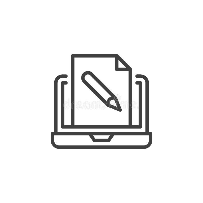 Ikona wiersza wykształcenia online royalty ilustracja