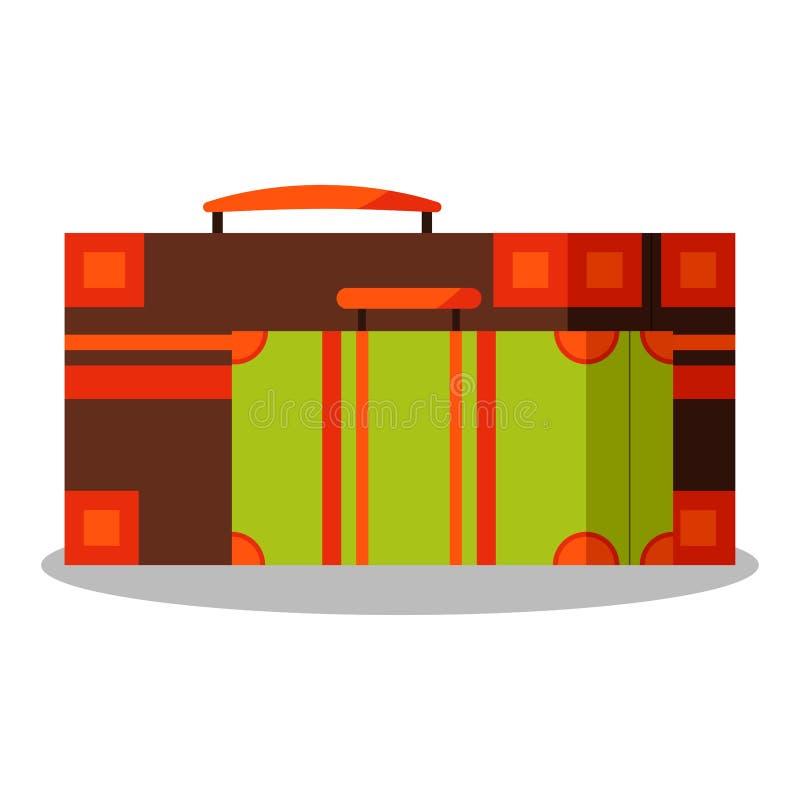 Ikona wizerunek rocznika brązu aand zieleni walizki odizolowywać na białym tle ilustracja wektor