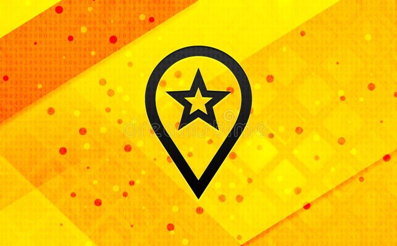 Ikona wskaźnika mapy — abstrakcyjne cyfrowe tło transparentu żółtego ilustracja wektor