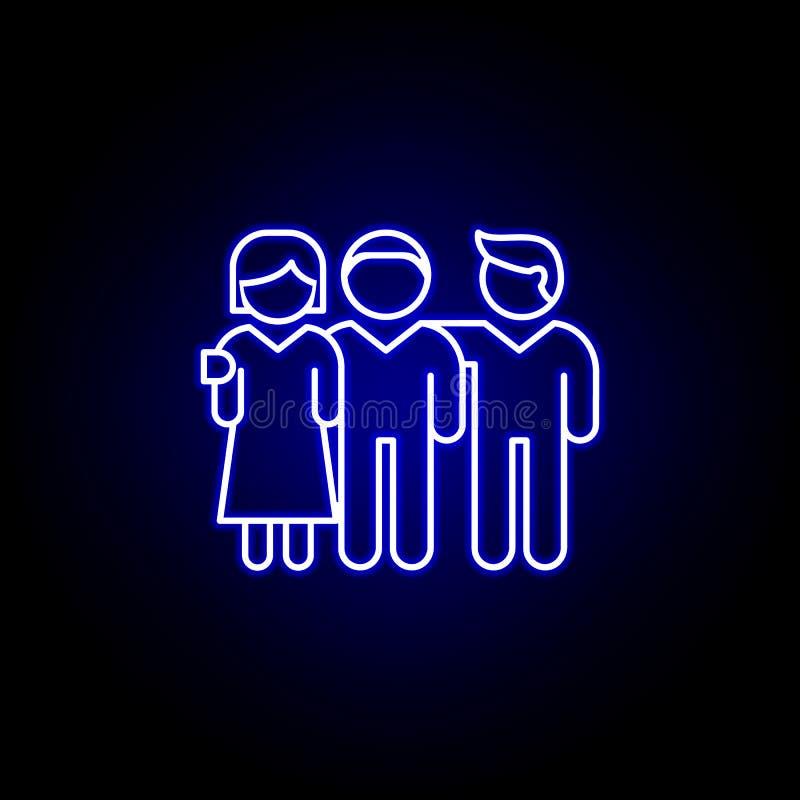 ikona wspólnoty przyjaźń kontur niebieski neon Ikona linii elementów przyjaźni Znaki, symbole i wektory mogą być używane w Intern ilustracji
