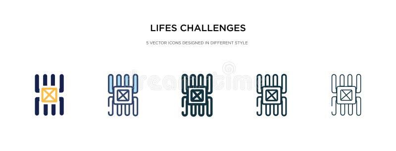 Ikona Wyzwania w innym stylu na ilustracji wektora dwa kolorowe i czarne piętra rzucają wyzwanie na ikony wektorowe zaprojektowan royalty ilustracja