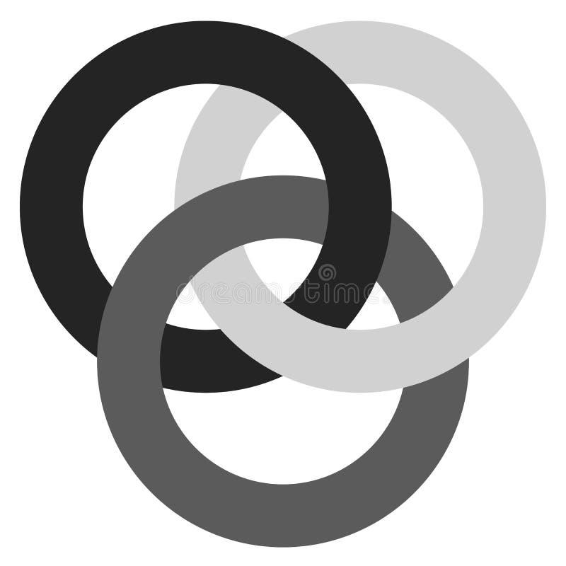 Ikona z 3 łączy okręgami pierścienie Abstrakcjonistyczny symbol dla przeciwu ilustracja wektor
