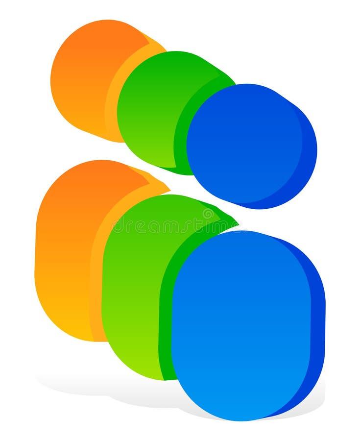 Ikona z 3 ludzkimi piktogramami - Kolorowa 3d ikona dla partnerstwa ilustracja wektor