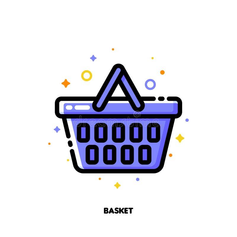Ikona zakupy kosz dla handlu detalicznego i konsumeryzmu pojęcia Mieszkanie wype?niaj?cy konturu styl Piksel perfect 64x64 Editab ilustracji