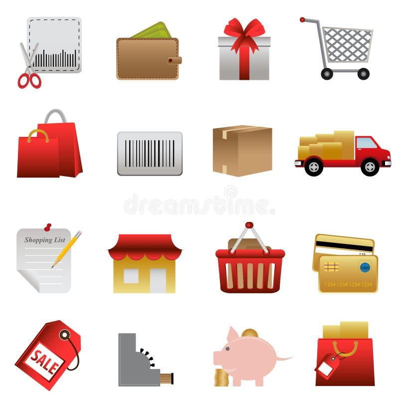 ikona zakupy powiązany ustalony ilustracji