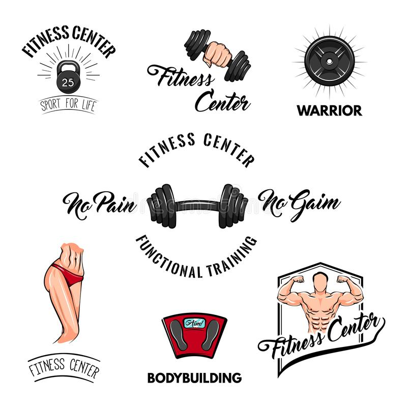 ikona zestaw sportu Sprawności fizycznej centrum loga etykietka Dumbbell, barbell, Bodybuilder, sportowiec, podłoga skala Fintess royalty ilustracja