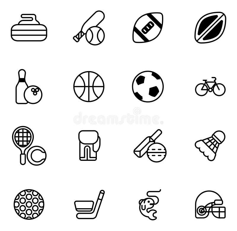 ikona zestaw sporty royalty ilustracja