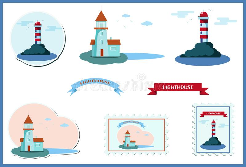 ikona zestaw wektora Latarnia morska ilustracji