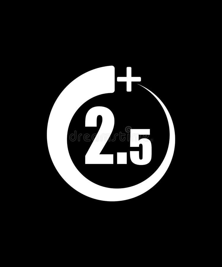 2 5+ ikona, znak Ewidencyjna ikona dla limita wieku - wektorowa ilustracja Czarny t?o royalty ilustracja