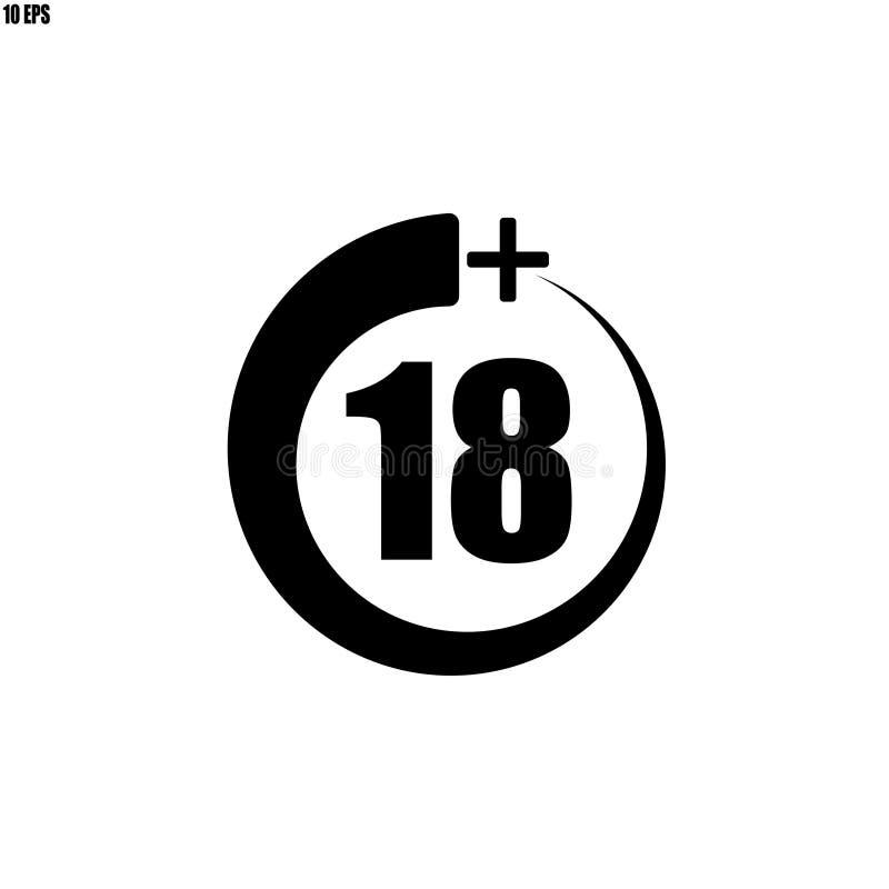 18+ ikona, znak Ewidencyjna ikona dla limita wieku - wektorowa ilustracja ilustracja wektor